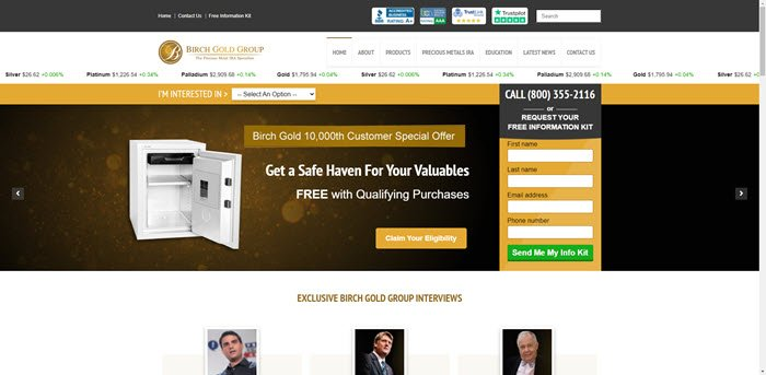 Birch Gold Group Review Site Page