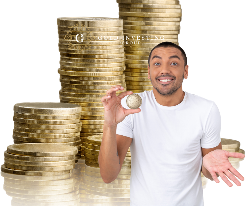 Man In Front Of Gold Coins